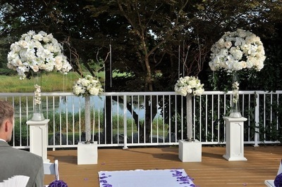 Decor rentals vancouver floral decor and flowers vancouver this is one of our silk floral toppers we carry in rental the flowers on the left are fresh and the large topper is silk both look very alike because the mightylinksfo