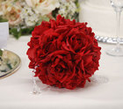 Kissing ball in red with faux roses