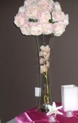 Pink Peonies on flute vase for rental