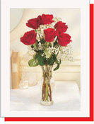 6 Roses in glass vase