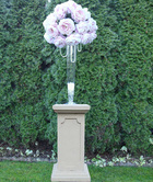 Ivory Pedestals, glass and silk flowers