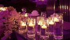 Set of vases with floating candles