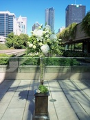 Brown pedestal for wedding ceremony