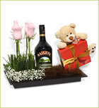Send Roses, Bailey's, chocolates and Teddy Bear